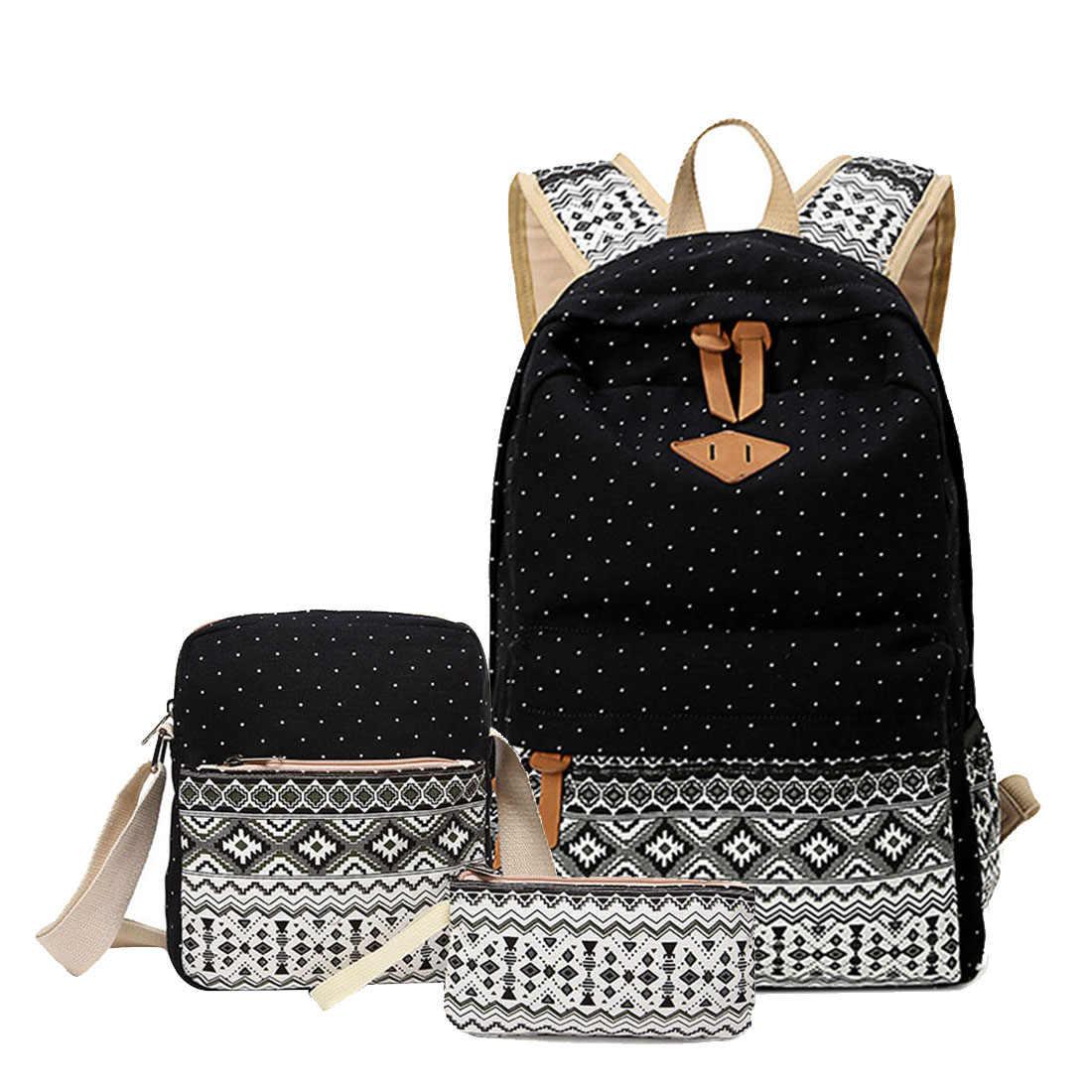 3 Pcs Set Polka Dot Printing Women Backpack Cute Lightweight