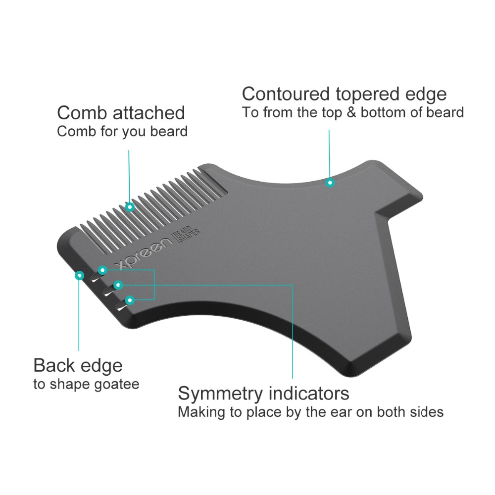 XPREEN 2 Pcs Beard Shaping Template Comb Multi-functional Men's Beard Shaping Trimmers Hair brush Set Mustache Jaw Line Styling 4