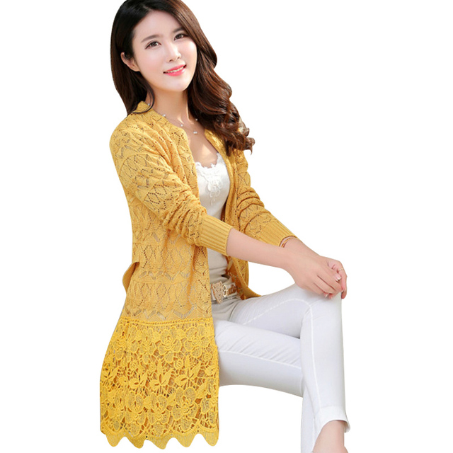 Lace Cardigan Sweaters Women Sweater 2017 Spring Autumn Knitted ...