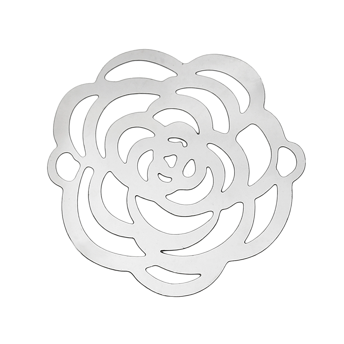 DoreenBeads Stainless Steel Connectors Findings Flower Silver Tone Rose Hollow 24mm(1)x 24mm(1),Thickness:0.3mm,30 PCs