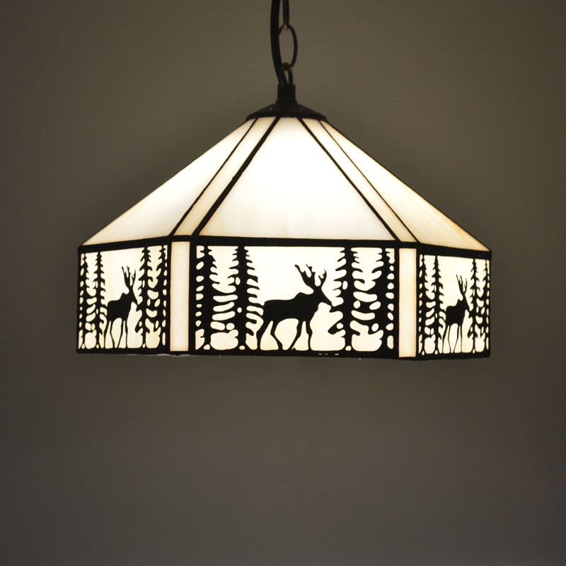 Tiffany Pendant Light Elk Pattern European Style Stained Glass Dining Room Luminaires E27 110