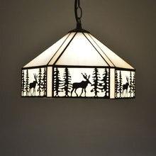 Tiffany Pendant Light Elk Pattern European Style Stained Glass Dining Living Room Home Lighting E27 110-240V