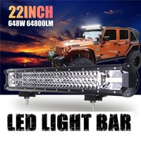 HOT SALE 3 Row 22 Inch 648W Straight/Curved LED Work Light Combo Beam Offroad Fit 4x4 Car Roof Offroad Driving LED Light Bar J2