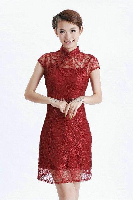 8e98624e0523 Historia Shanghai 2017 nueva venta tradicional vestido chino cheongsam  Encaje Encanto de las mujeres Chinas vestido rojo vino 2 unidades set D0031  en ...