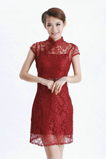Shanghai Story 2017 new sale traditional chinese dress Lace cheongsam Charming Chinese women's wine red dress 2 pieces set D0031