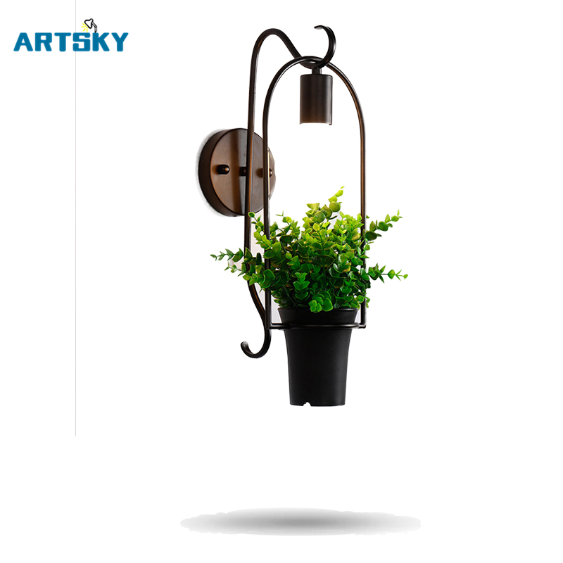 Modern Iron Creative Potted Plants Green Wall Lamp Bedside Living Room Backdrop Restaurant Bar Aisle Wall Decoration Lamps modern lamp trophy wall lamp wall lamp bed lighting bedside wall lamp