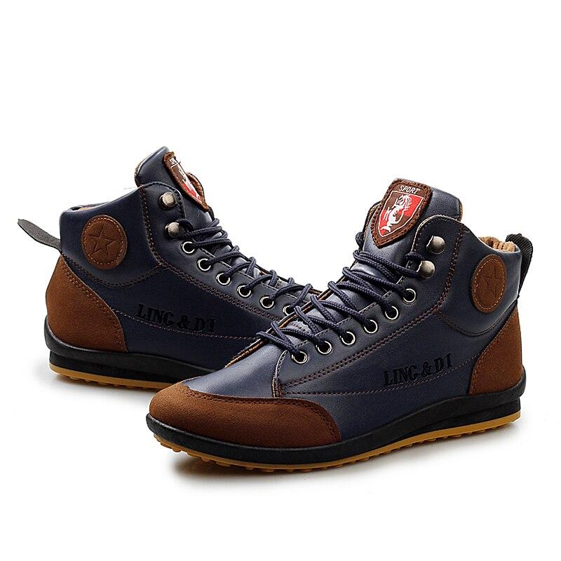 Men Boots Winter 2018 Fashion Leather Warm Plus Cotton Ankle Boots Autumn Winter Boots Men Shoes Men Size 39-44 mulinsen latest lifestyle 2017 autumn winter men