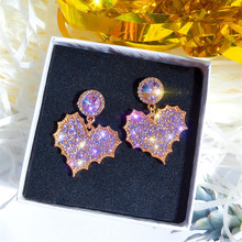 Statement Heart Rhinesone Drop Earrings For Women European Fashion Jewelry 925 Silver Needle Bijoux Wholesale Cute Gift