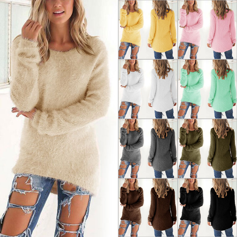 Pullovers 2020 Autumn Winter Women Round Neck Loose Sweater Knitted Ladies Female Sweater Plus Size Casual Solid Color