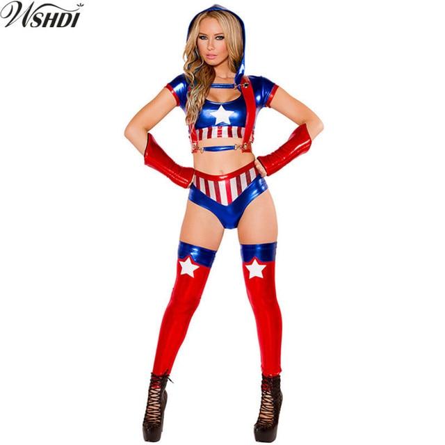 ee3254e8b18 Adult Captain America Female Superman Costume Halloween Cosplay Wonder  Woman Superhero Costumes Game Club Bar Uniform Temptation
