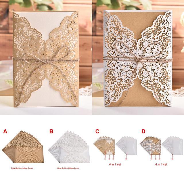 10pcs Design Flower Pattern Laser Cut Lace Wedding Invitations West