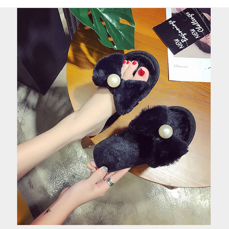 pearl bow slippers women home shoes for women winter slippers indoor home slippers ladies flats shoes pantuflas de mujer 2018 bow slippers women winter warm slippers ladies flats shoes women indoor home slippers home shoes for women zapatillas mujer 2018