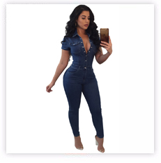 ffd58e4989ea Women Sexy Stretch Denim Jumpsuit Jeans Ripped Hole Backless Hollow ...