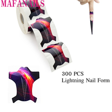 3D 300pcs/Roll Lightning Nail Form Self-Adhesive Gel Extension Forms For Acrylic Nails Tips