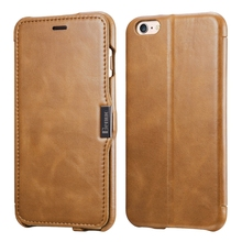 Benuo For iPhone 6 6S Plus Case 5.5 inch Genuine Leather Vintage Classic Folio Flip Corrected Grain Leather Cover With Card Slot