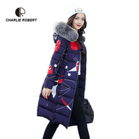 CR New Women Down Casual Winter Coats Fur Collar Plus Size 2 Face Dressing Hooded Parka