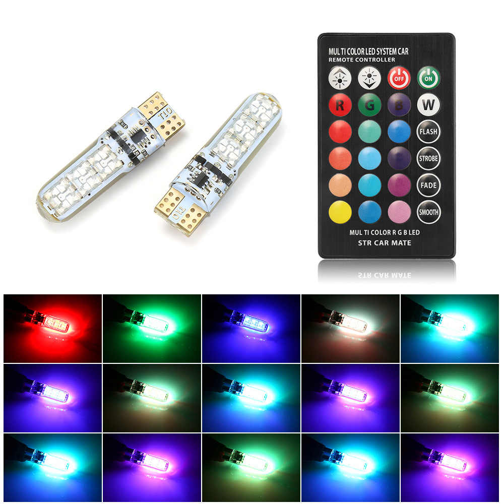 2Pcs/1set 12V LED T10 W5W 5050 SMD 1.2W Auto Car RGB LED Interior Dome Wedge Reading Light Strobe Lamp Bulb With Remote Control