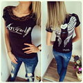 New Fashion Summer Style Women's T shirt Back Hollow Angel Wings T-shirt Tops Lace Short Sleeve Tops T shirts Clothing