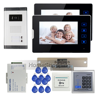 FREE SHIPPING 7 Touch Video Intercom Door Phone System 2 Screen 700TVL Outdoor Camera For 2