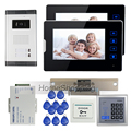 "FREE SHIPPING 7"" Touch Video Intercom Door Phone System 2 Screen + 700TVL Outdoor Camera for 2 House RFID Control + Strike Lock"