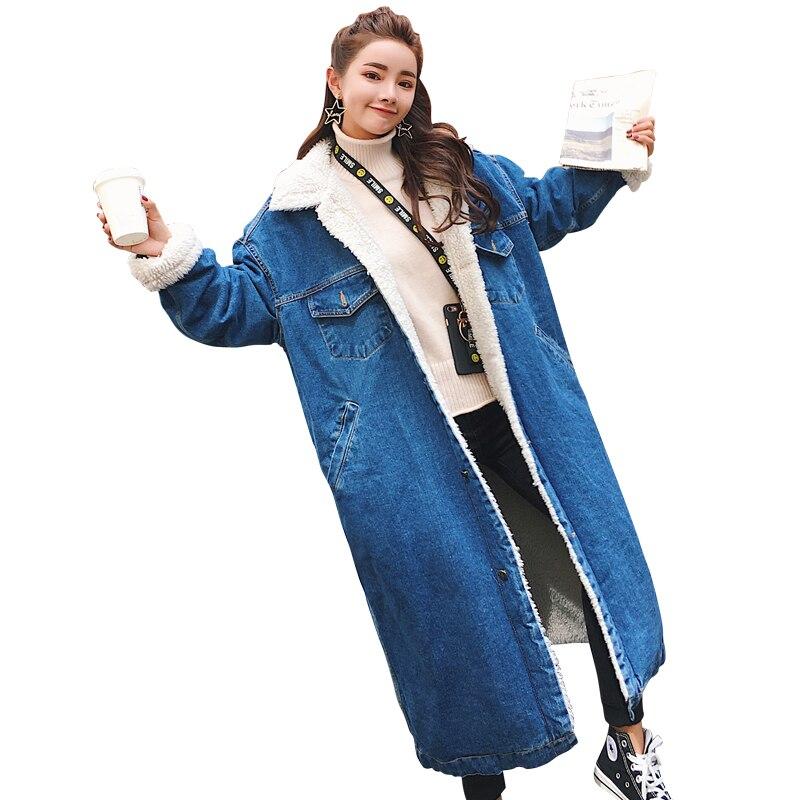 2019 Women Basic Coat Winter Denim Jacket Women Warm Wool lining For Women Jeans Jacket Female