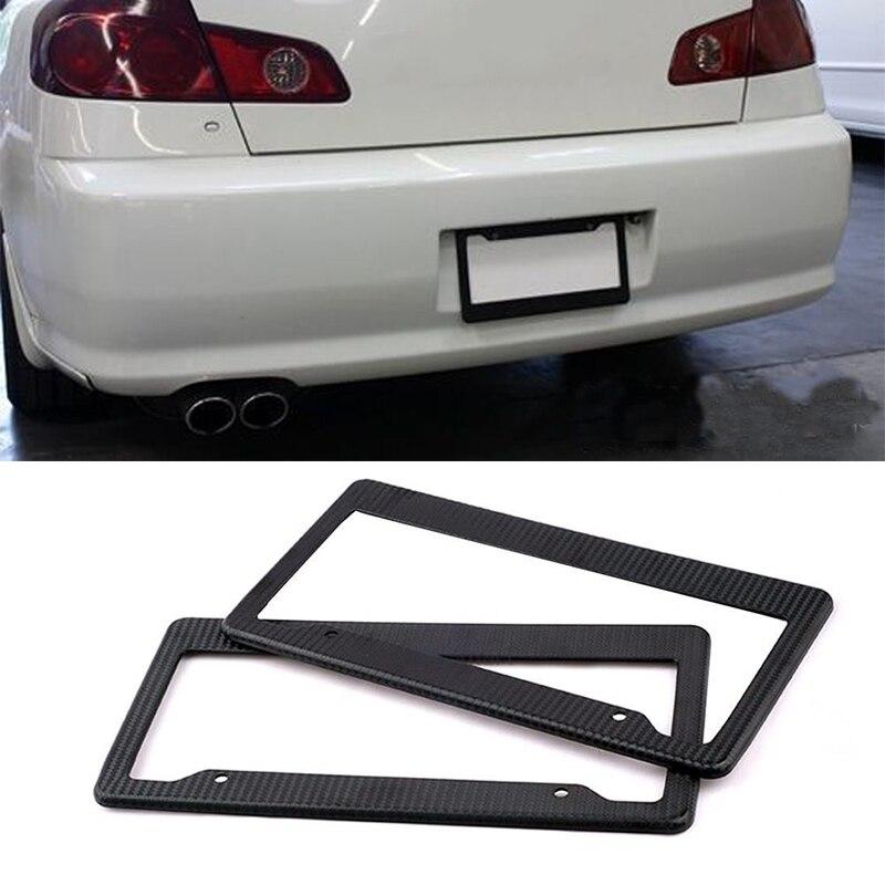 Auto Kenteken Covers Slanke Koolstofvezel Geschilderd Twill Nummerplaat Frame Ontwerp Glanzend Oppervlak Voor ONS Canada Voertuigen