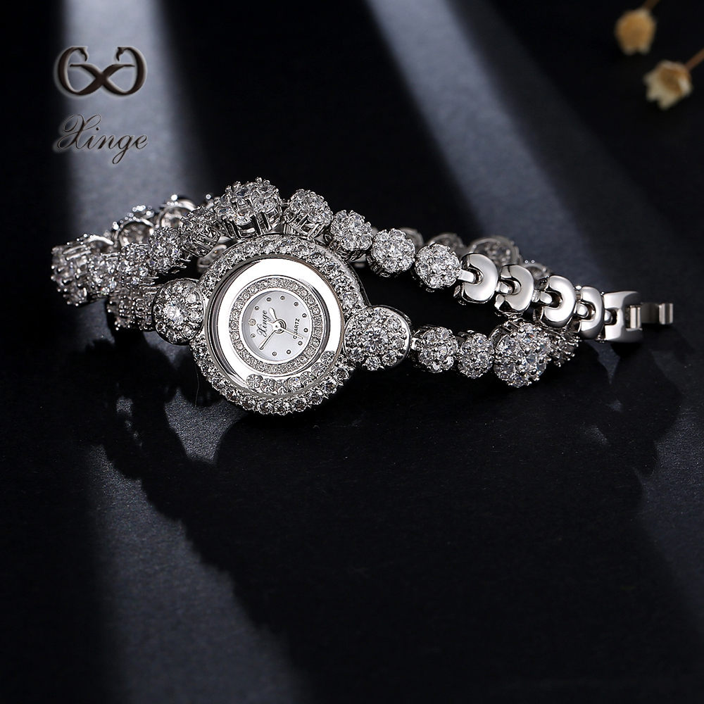 Xinge Brand 30M Waterproof Zircon Diamond Chain Bracelet Watch Women Dress Rhinestone Lady Luxury Dress Quartz Wrist Watches new arrival bs brand full diamond luxury bracelet watch women luxury round diamond steel watch lady rhinestone bangle bracelet