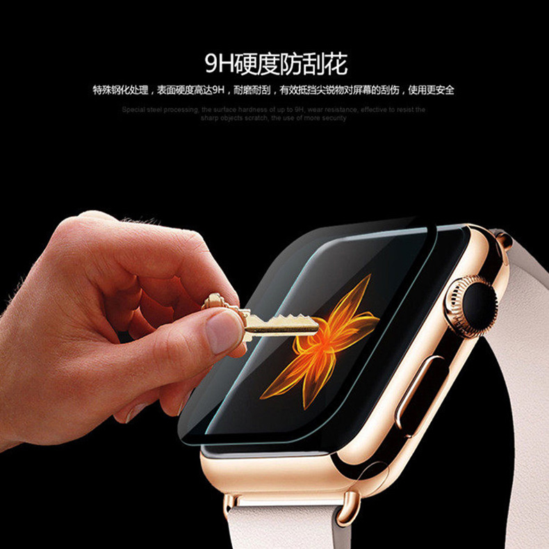 Tempered Glass For Apple Watch 42mm Series 4/3/2 /1 Full Cover 3D Curved Screen Protector Film For iWatch band 38mm 40mm 44mm 3d curved full coverage tempered glass film for apple watch flim screen protector 38mm 42mm 44mm 40 9h for iwatch series 4 3 2 1