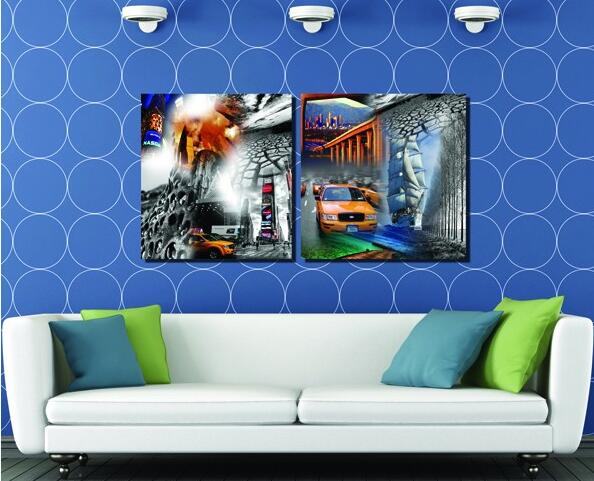 Special Offer Wholesale Spray Painting 2pcs Modular Picture Image Skyscraper Canvas Painting Modern Decoration In The Livingroom