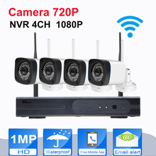 4CH Wireless NVR Kit Plug And Onvif IP Camera WIFI Megapixel 720p HD Outdoor Wireless Digital Security CCTV IP Cam IR Kamera