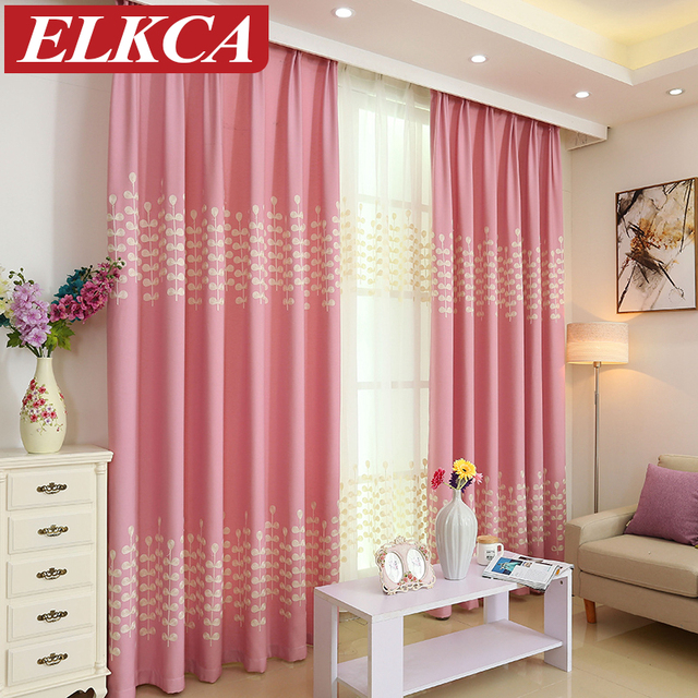 Chinese Pink/Green Modern Embroidered Curtains for Living Room ...