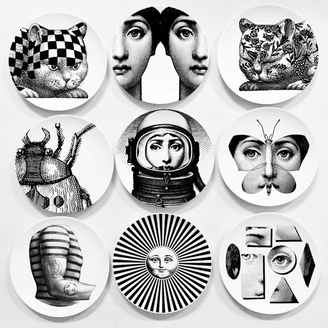 Black And White Feature Wall Wallpaper 7 8 Inches Creative Design Fornasetti Wall Hanging