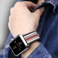 Модный нейлоновый ремешок в полоску для Apple Watch 38, 42 мм, ремешок с пряжкой, 40, 44 мм, для iWatch Series 4, 3, 2, 1, сменный ремешок