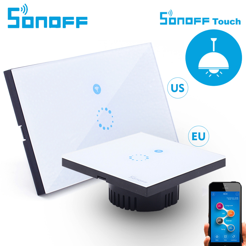 Itead Sonoff Touch Wall Wifi Switch Luxury Glass Panel Touch Led Wi Fi Wireless Remote Control