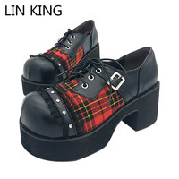 New Women Pumps Lace Up Punk Style Retro Lattice Lolita Shoes Thick Square Heel Cute Round