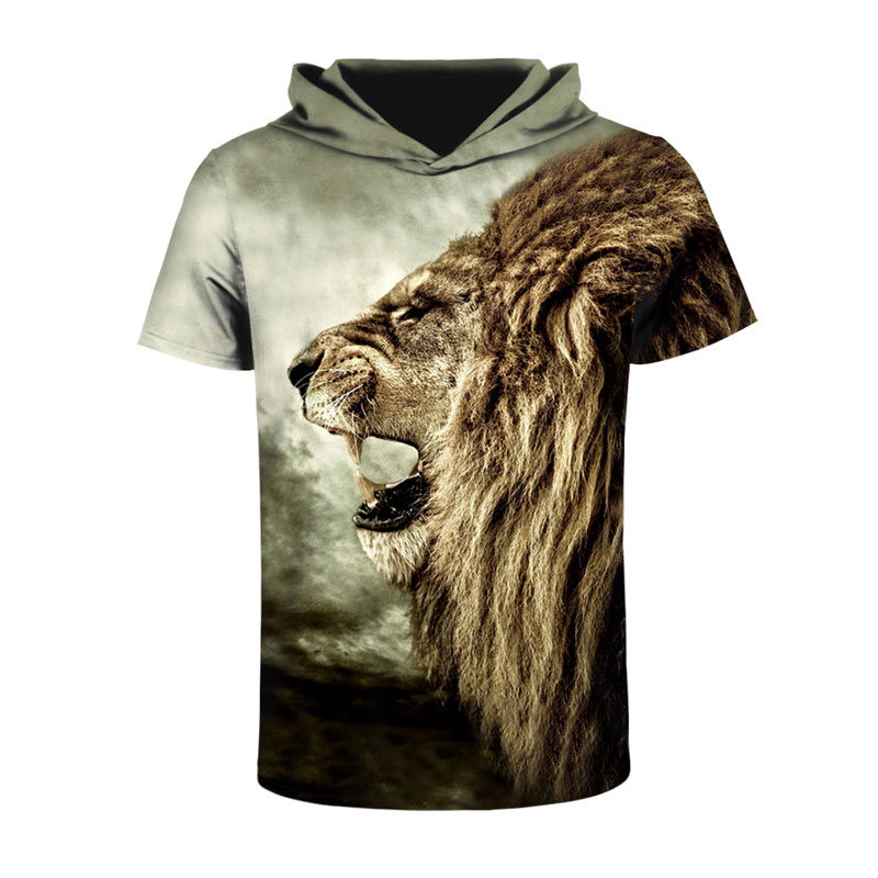 Mr 1991INC New Fashion Men Women T shirt With Hat Print Ferocious Lion Tops Tees Hooded