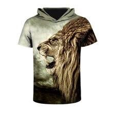Mr.1991INC Новая модная Мужская/женская футболка с Hat печати свирепый лев Футболки с капюшоном футболка брендовые футболки
