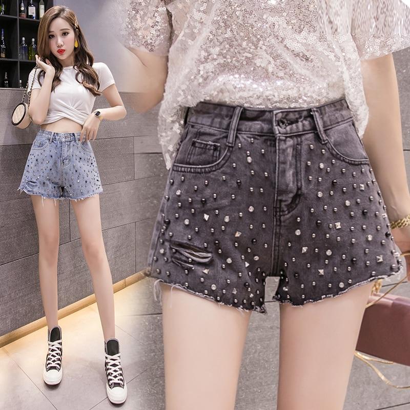 High Waist Vintage Washed Heavy Work Bead Nail Drill Denim Women Shorts Harajuku Fashion Hole Slim Women Short Pants