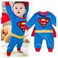 2016 Детская одежда супер человек косплей стиль 100% хлопок ползунки новорожденных комбинезон одежда лето мальчик и девочка супермен ползунки