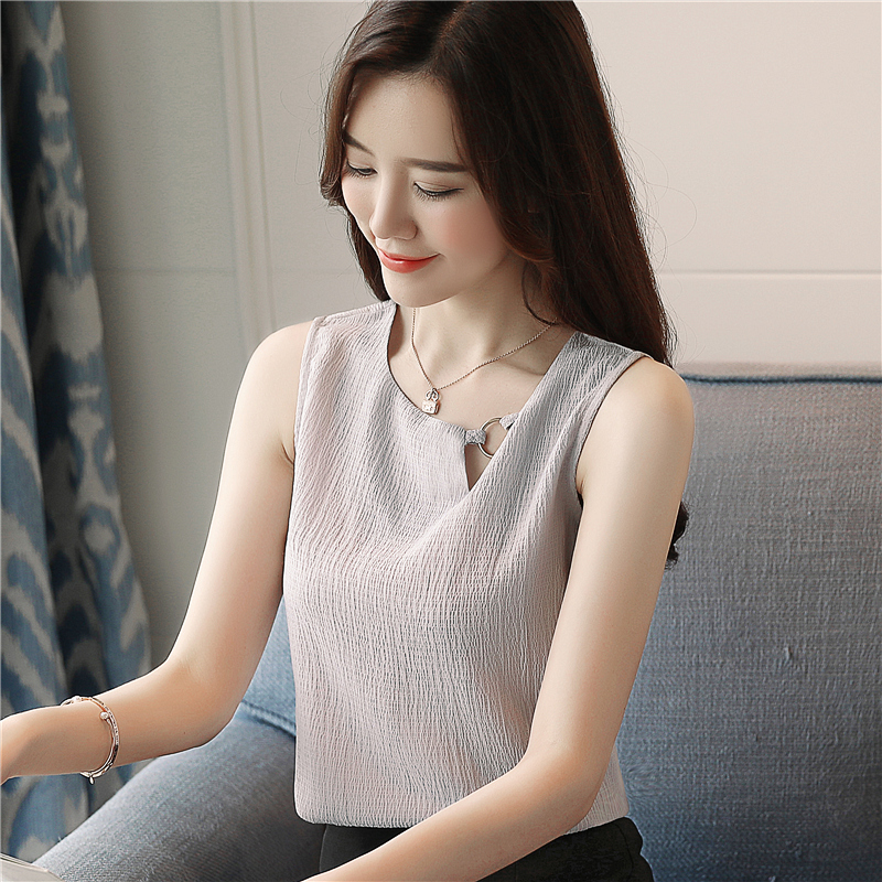 Mujer 0266 Blusas Blusa Camisa blanco De Sexy Gasa Tops Gris Las Sin Mujeres Femenina 40 2019 Mangas Moda CA8tq