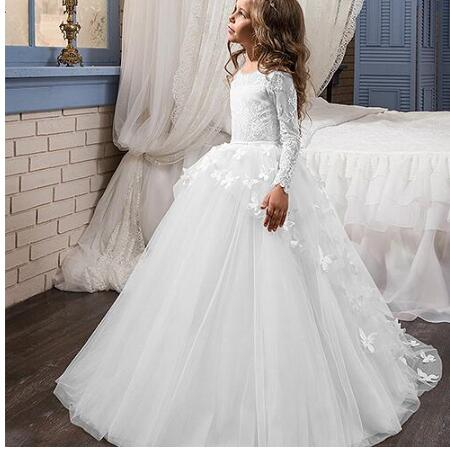 Romantic First Communion   Dress   Lace Butterfly   Flower     Girl     Dresses   Birthday Party Gown High Quality Size 2-16Y