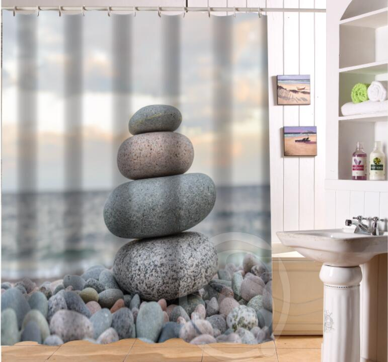 NEW HOT Custom Waterproof Fabric Bath Curtain Zen Stone Waterproof