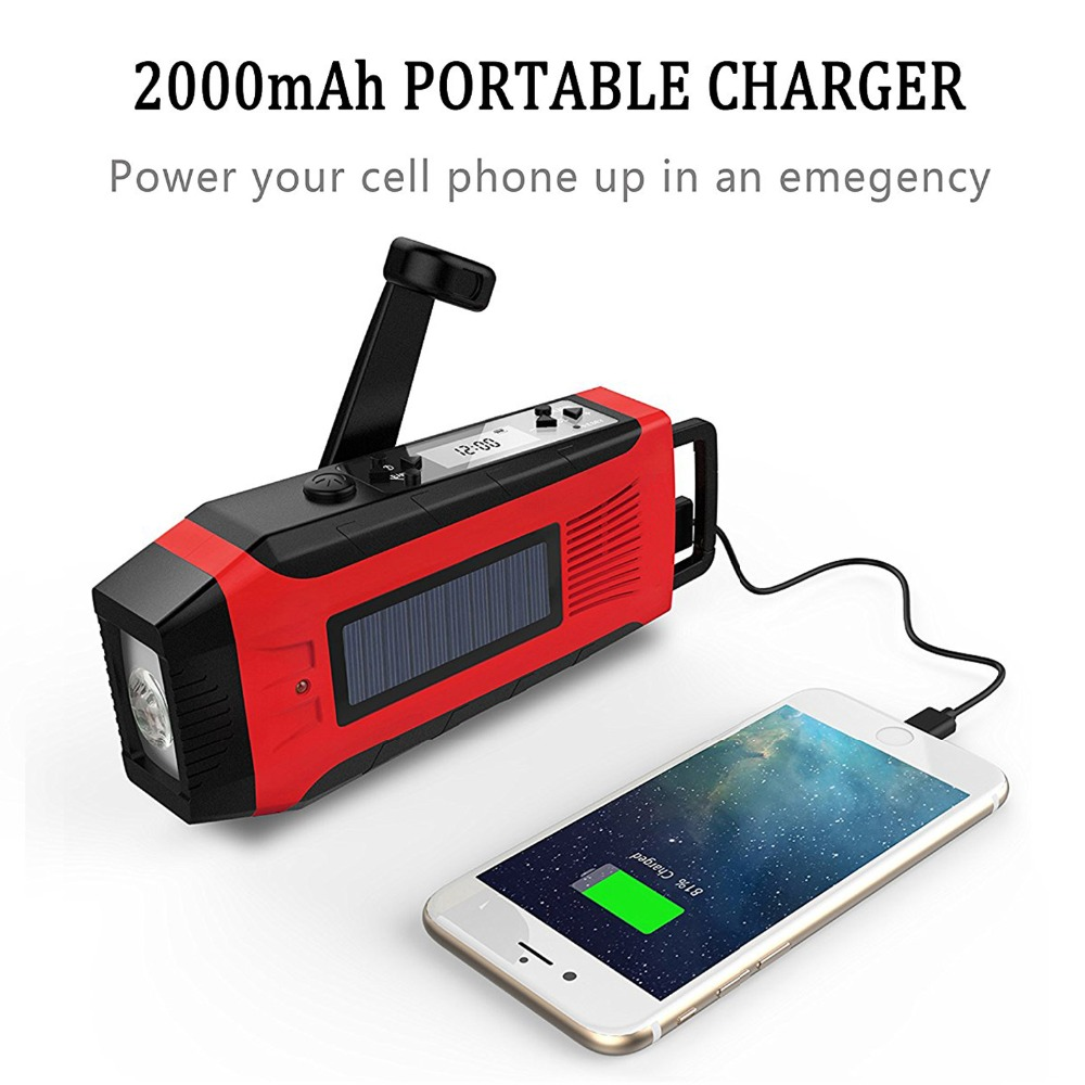 Hand Crank Generator USB Phone Charger 2000mAh Solar Radio With Super Flashlight ...
