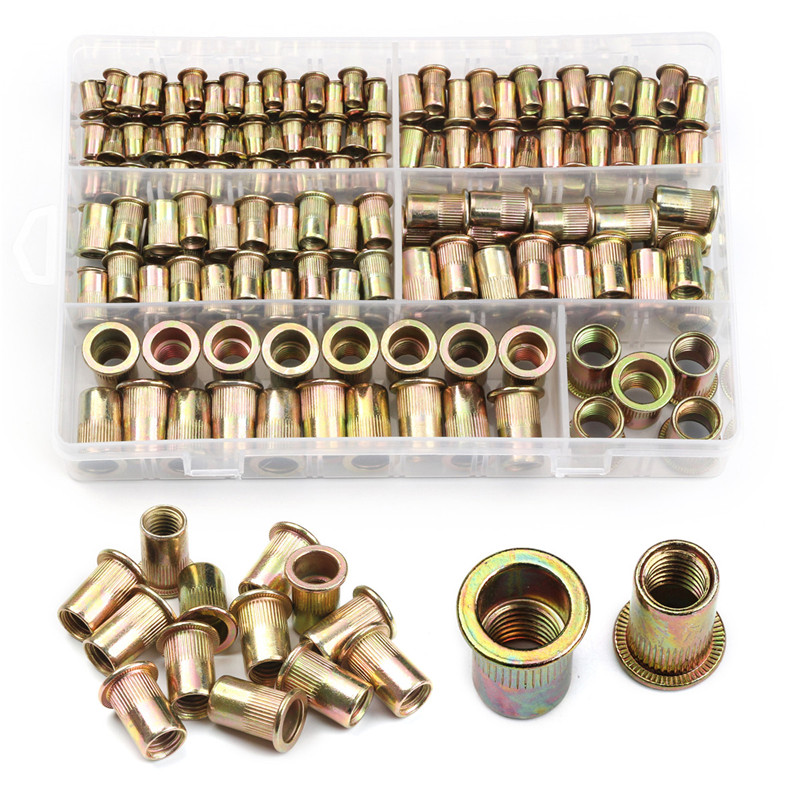 ZENHOSIT 210 PCS Carbon Steel Rivet Nuts M4 M5 M6 M8 M10 M12 Flat Head Rivet Nuts Set Nut Insert Reveting Multi Size Collocation