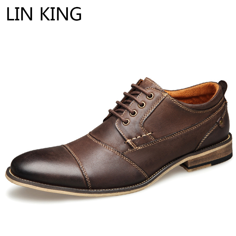 LIN KING Plus Size 40-50 Men Business Dress Shoes Lace Up Ankle Casual Oxfords Shoes Fashion Breathable Man Wedding Party Shoes