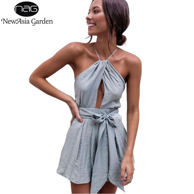 NewAsia Sexy Bodysuit Summer Jumpsuit Bow Tie Waist Belt Backless Halter Women's Playsuit Beach Rompers Womens Jumpsuit Short