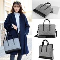 Unisex Luxury Woolen Felt With PU Laptop Messenger Large Space And Detatchable Belt Notebook Case Bag