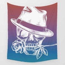 Hot sale fashion funny skull with hat  sun moon feather wall hanging tapestry home decoration tapiz pared