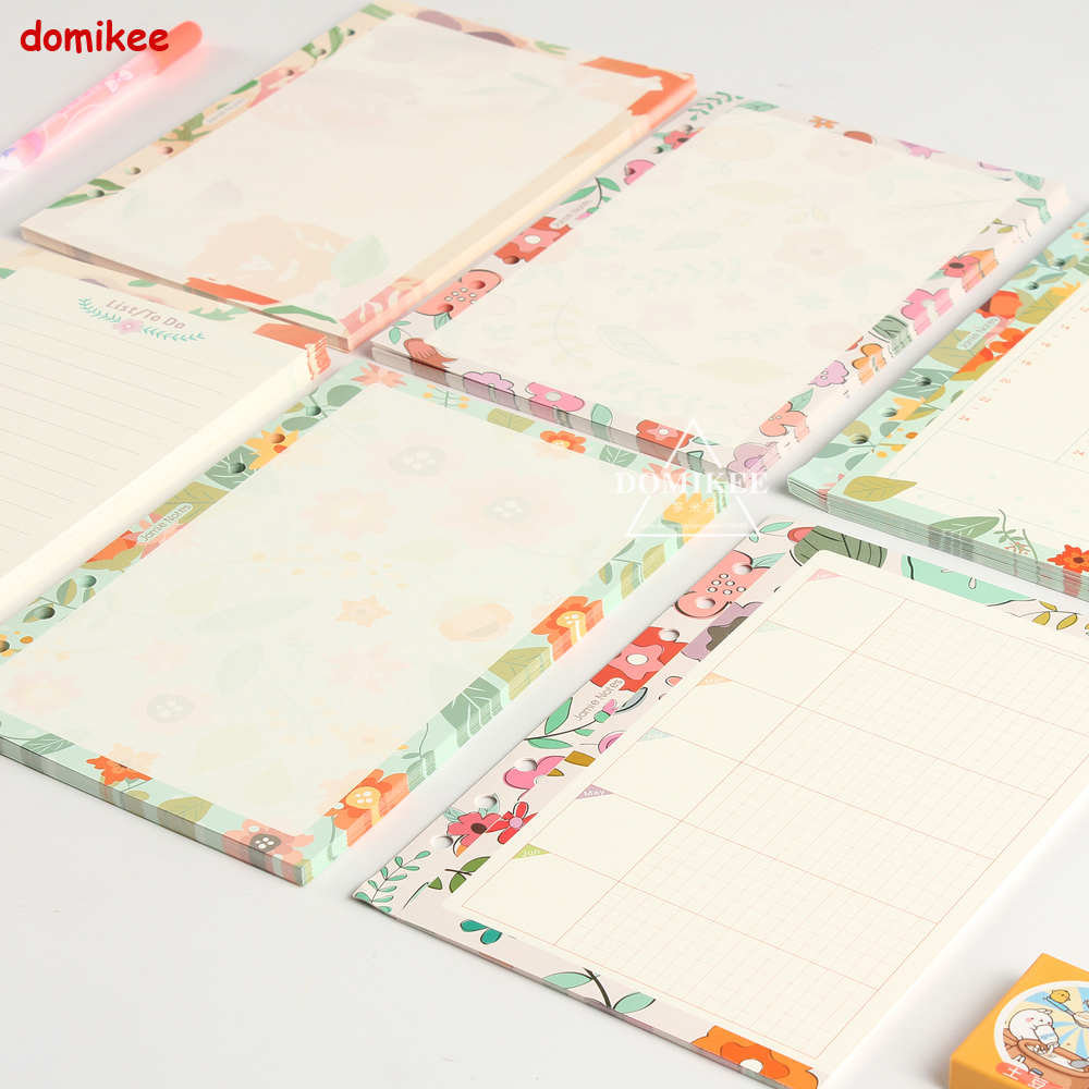 New Cute Original Creative 6 Holes Binder Spiral Notebook Replacement Inner Paper Core:yearly Monthly Weekly Planner Blank A5 A6