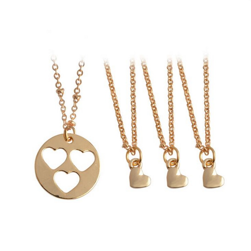 Kittenup 4Pcs/sets New Fashion Heart Cut Out Mother Daughter Necklaces Set Generations Mommy Me Jewelry Mothers Day Daughter
